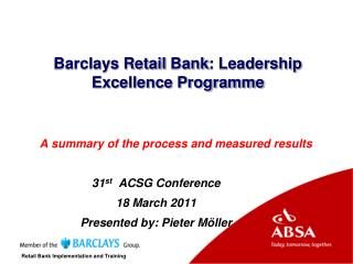 Barclays Retail  Bank : Leadership Excellence Programme