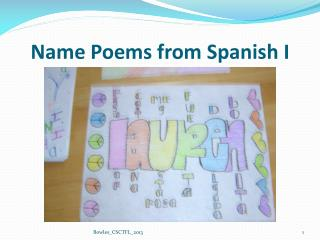 Name Poems from Spanish I