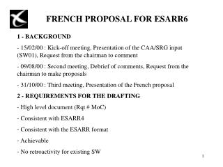 FRENCH PROPOSAL FOR ESARR6