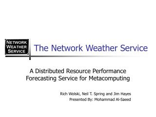 The Network Weather Service