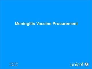 Meningitis Vaccine Procurement