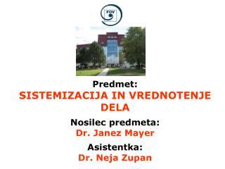 Predmet: SISTEMIZACIJA IN VREDNOTENJE DELA Nosilec predmeta: Dr. Janez Mayer Asistentka: Dr. Neja Zupan