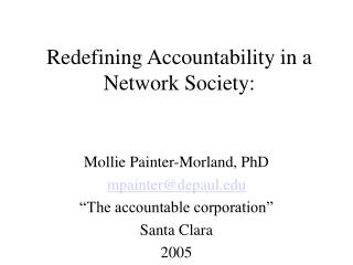 Redefining Accountability in a Network Society:
