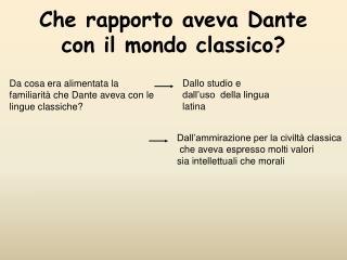 Che rapporto aveva Dante con il mondo classico?