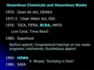 1970:  Clean Air Act, OSHAct 1972-3:  Clean Water Act, ESA 1976:  TSCA, FIFRA,  RCRA , HMTA 1980:  Superfund 1984:   HSW