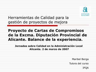 Proyecto de Cartas de Compromisos de la Excma. Diputación Provincial de Alicante. Balance de la experiencia.
