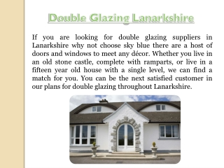 Double Glazing Prices Lanarkshire