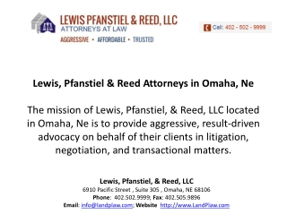Lewis, Pfanstiel, & Reed, LLC | family lawyers Omaha, NE