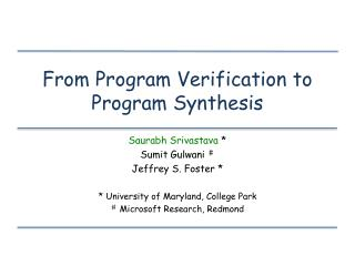 from program verification to program synthesis