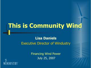 This is Community Wind