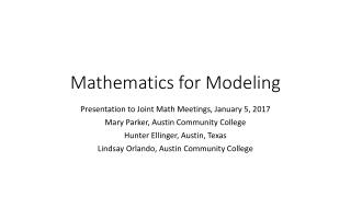 Mathematics for Modeling