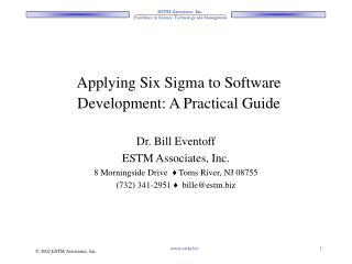 Applying Six Sigma to Software Development: A Practical Guide