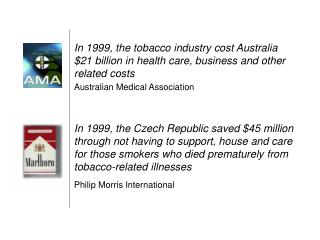 In 1999, the tobacco industry cost Australia $21 billion in health care, business and other related costs Australian Med