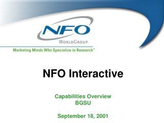 NFO Interactive Capabilities Overview BGSU September 18, 2001