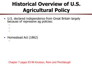 Historical Overview of U.S. Agricultural Policy