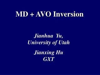MD + AVO Inversion