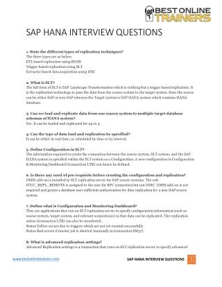 SAP HANA Interview Questions