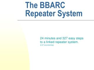 The BBARC Repeater System