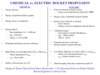 CHEMICAL vs. ELECTRIC ROCKET PROPULSION