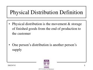 Physical Distribution Definition