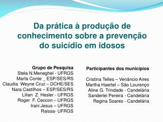 Da prática à produção de conhecimento sobre a prevenção do suicídio em idosos