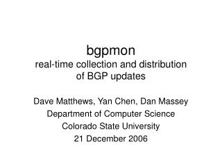 bgpmon real-time collection and distribution of BGP updates