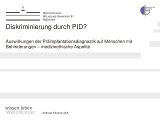 Diskriminierung durch PID? Auswirkungen der Präimplantationsdiagnostik auf Menschen mit Behinderungen – medizinethische