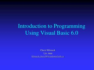 Introduction to Programming Using Visual Basic 6.0