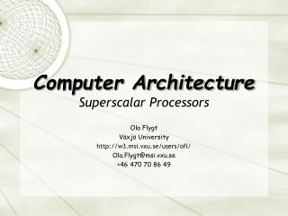 Computer Architecture Superscalar Processors