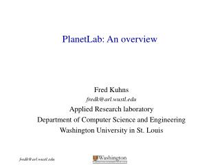 PlanetLab: An overview