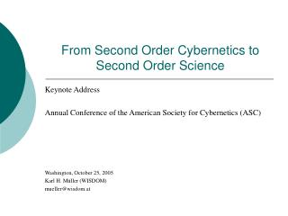 From Second Order Cybernetics to Second Order Science