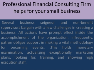 Professional Financial Consulting Firm helps for your small
