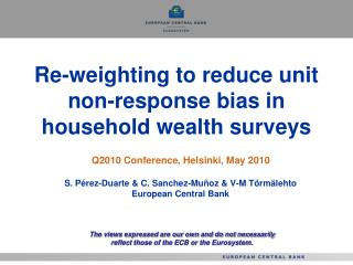 Re-weighting to reduce unit non-response bias in household wealth surveys