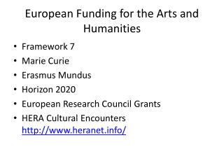 European Funding for the Arts and Humanities