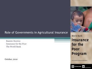 Role of Governments in Agricultural Insurance