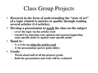 Class Group Projects