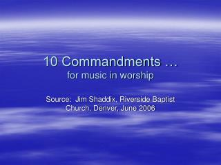10 Commandments … for music in worship