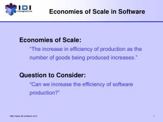 Economies of Scale in Software