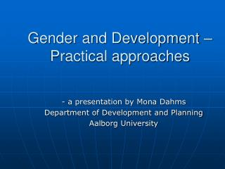 gender and development    practical approaches
