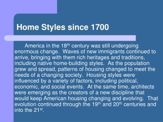 home styles since 1700