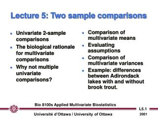 Lecture 5: Two sample comparisons