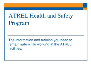 ATREL Health and Safety Program
