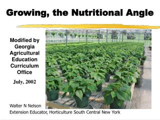 Growing, the Nutritional Angle