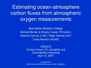 Estimating ocean-atmosphere carbon fluxes from atmospheric oxygen measurements