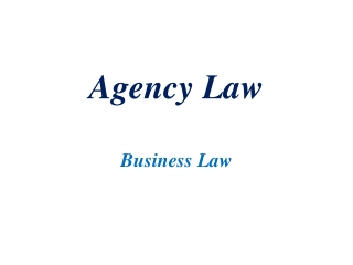 Agency Law Business Law