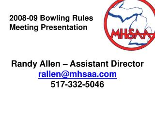 2008-09 Bowling Rules Meeting Presentation