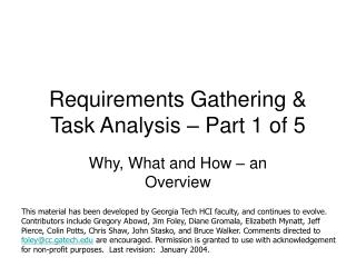 Requirements Gathering & Task Analysis – Part 1 of 5