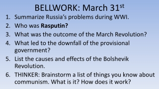 BELLWORK: March 31 st