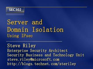 Server and Domain Isolation Using IPsec