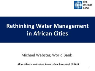 Rethinking Water Management  in African Cities